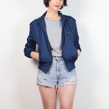Vintage Members Only Jacket 1980s Navy Blue Track Jacket Slouchy Bomber Jacket 80s Windbreaker Jacket Sporty Short Coat 38 S Small M Medium