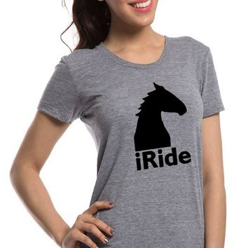 2017 Women's T-Shirts Tumblr Funny Harajuku Iride Horse Clothes Punk T-shirts for Women Bts Vintage Vogue TShirt Female Tops