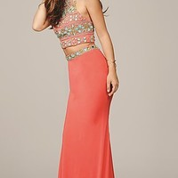 Two Piece Dress with Beaded Top by Jovani