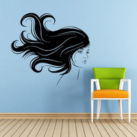 Makeup Wall Decal Vinyl Sticker Decals Home Decor Mural Make Up Girl Eyes Woman Fashion Cosmetic Hairdressing Hair Beauty Salon Decor SV6046