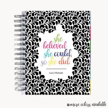 Monthly PlanBook Planner – 2018 | Personalized | Monthly Calendar | Notebook | To Do List | Bound | Family | Academic | Quote Swirl
