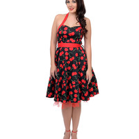 1950s Style Red & Black Big Cherry Cap Halter Swing Dress