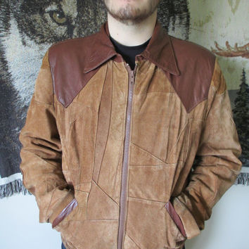 Vintage Brown Leather and Suede Patchwork Jacket- Patchwork Leather Detail- Zip Up