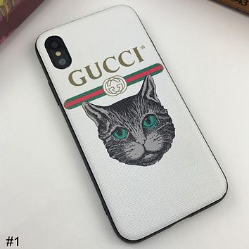 GUCCI Tide brand cat head wild couple models iphonex mobile phone case cover #1