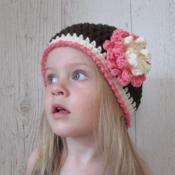 Easy Baby Hat Pattern, Flower Baby Hat Pattern, Toddler Girl Hat Pattern, Crochet Hat Pattern, Girls Hat Pattern, Crochet Patterns