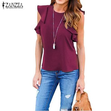 Womens Sleeveless Solid Tops Casual Ruffles Sleeves O Neck Blouse 8 colors