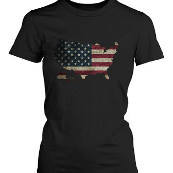 Funny Graphic Statement Womens Black T-shirt - US Flag in US Map
