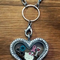 Crystal Heart Memory Lockets Includes FREE chain and 5 charms