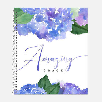 Amazing Grace Notebook, Waterproof Cover, Bible Journal, School Supplies, Office Supplies, Hydrangeas Journal, College Ruled Notebook