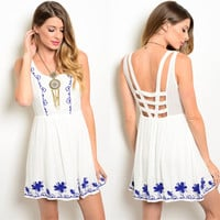 Kalel Embroidered Cage Back Dress