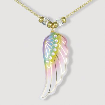 Glass Baron 22k Gold Trim Glass Rainbow Angel Wing Necklace
