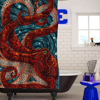 mosaic octopus custom shower curtain