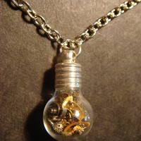 Steampunk Necklace- Gears and Watch Parts in a Tiny Round Bulb shape Bottle Vial (542)