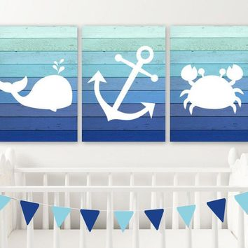 Boy Nautical Nursery Decor, Nautical Nursery Wall Art, Nautical Nursery Art Pictures, Ombre Wood CANVAS or Print, Whale Anchor Crab Set of 3