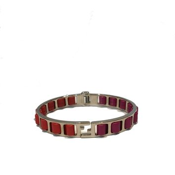 "Fendi ""The Fendista"" Leather Fuchsia/Orange Band Bangle Bracelet 880923"