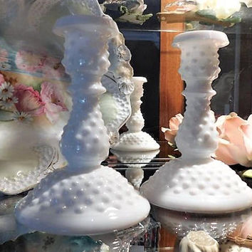 Vintage Fenton White Milk Glass Hobnail Candlesticks Candle Holders Pair 1970s 70s Retro Country Cottage Farmhouse Home Decor Wedding Gift