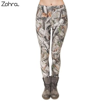 Zohra Brand Fashion Camo Branches 3D Printing High-quality Slim Legging Women Casual Home Leggings Woman Pants