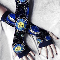 Star Crossed Arm Warmers - Fairy Sun and Moon Navy Cobalt Pale Blue Yellow White Cotton - Gothic Boho Tarot Cycling Light Yoga Fae Unisex