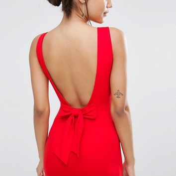 ASOS Bow Back Midi Bodycon Pencil Dress at asos.com