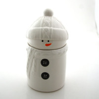 Snowman christmas cookie jar with cable sweater and hat