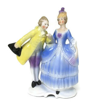Vintage late 1940s 1950 German Porcelain Victorian Couple Man and Woman Figurine - Made in Germany U.S. Zone - Collectible Knick Knack