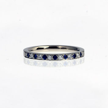blue sapphire and diamond wedding band, white gold ring, half eternity band, blue sapphire, unique wedding, thin, engagement, blue wedding