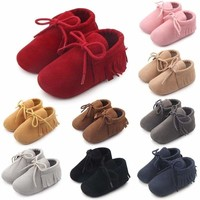 Infant Baby Crib Shoes Boy Girl PU Leather Shoes Anti-slip Tassels Shoes Sneaker