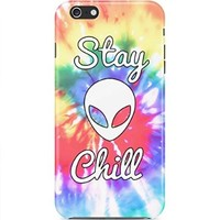 Stay Chill Alien Good Vibes Rad Tye Dye Hard Plastic Snap-On Case Skin Cover For Iphone 6