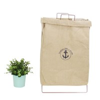 Wire Fold Laundry Hamper Beige Linen Anchor Logo