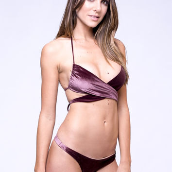 Dbrie Swim Wrapped Lili Top - Plum Velvet
