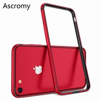Ascromy For iPhone 8 Case Aluminum TPU Silicone Hybrid Shockproof Bumper Case for iPhone 7 Plus 8 8Plus 7Plus Metal Frame Bumper