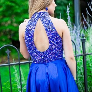Blue Halter Two Piece Backless Short Homecoming Dresses with Beading