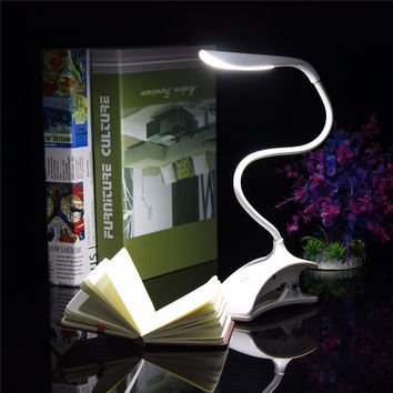 New Flexible Dimmable USB ABS Touch Sensor White LED Clip on Beside Book Reading Light Table Desk Lamp For Bed Gift