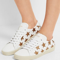 Saint Laurent - Court Classic appliquéd leather sneakers