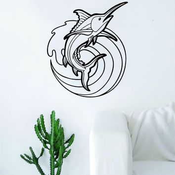 Marlin Fish Wave Decal Sticker Wall Vinyl Art Home Room Decor Living Room Bedroom Ocean Beach Waves Water Fisherman Fishing Boat
