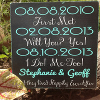 PERSONALIZED Important Dates, Wedding Gift , Bridal Shower Gift, Engagement - Special Dates, Housewarming - Wedding SignsDat