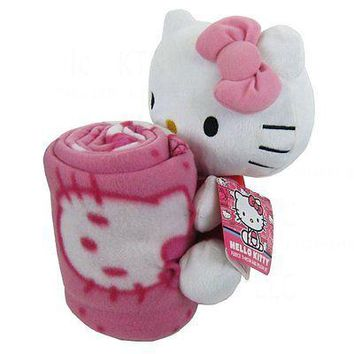 Hello Kitty 40x50 Fleece Throw and 10 IN Plush Doll Pillow Set
