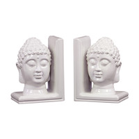Buddha Bookends in White