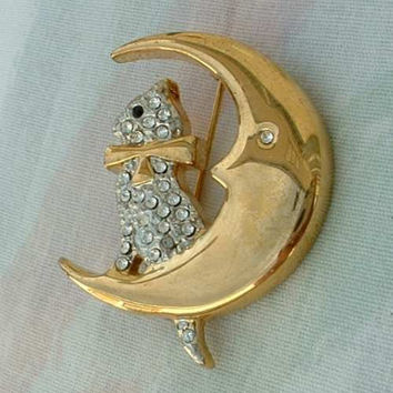 Cat Sitting on a Moon Rhinestone Brooch Unusual Vintage Figural Jewelry