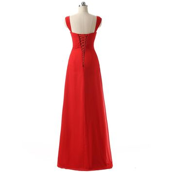 A-Line long prom dresses pleated chiffon fabric red prom dress evening gown
