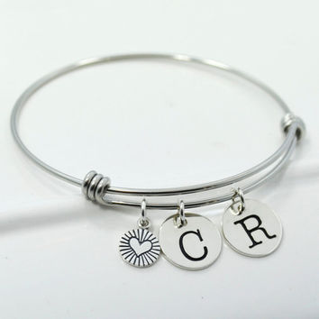Initial Bangle Charm Bracelet | Couples Initial Bangle | Mothers Bracelet