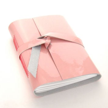 Pink Leather Journal and Sketchbook in Glossy Bubble Gum Pink Patent Leather