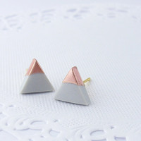 Dolphin Grey - Rose Gold Dipped Triangle Stud Earrings