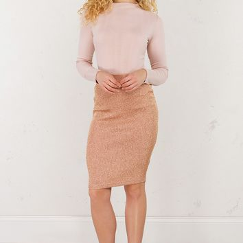 Sparkly Midi Skirt in Rose Gold