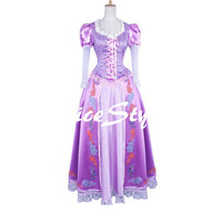 Disney Tangled Rapunzel Cosplay Costume Dress Party Dress
