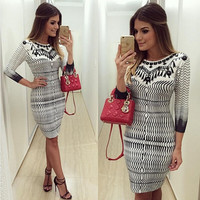 Women Sexy Fashion Bodycon Bandage Dress Evening Cocktail Party Midi dress Slim = 5738758529