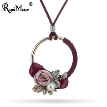 RAVIMOUR Choker Women Leather Chain Steampunk Round Long Necklaces Pendants Fashion Jewelry Ethnic Flower Simulation Pearl Colar