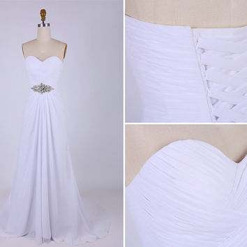 White Sweetheart Beading Chiffon Long Prom Dress/Simple White Wedding Dress/Beach Wedding Gown/White Lace Up Back Flowy Long Prom Dress