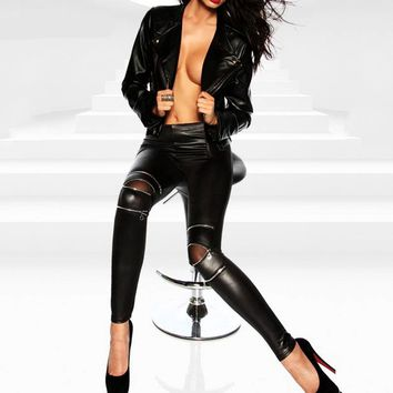 Skinny Rocker PU Leather Pants with Zipper Details