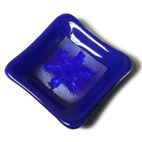 Royal Blue Fused Glass Plate, Tiny Square Size, Snowflake Design